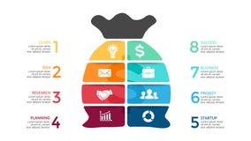 Vector el bolso infographic, carta del diagrama, presentación del dinero del gráfico Concepto del negocio con 8 opciones, piezas, stock de ilustración