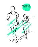 Vector el bosquejo activo dibujado mano de la gente en el fondo blanco ilustración del vector