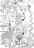 Vector el bosquejo de las casas, de los árboles anaranjados y de las colinas, st lindo imagen de archivo