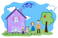 Vector el bosquejo de los niños de la familia feliz con la casa Imagen de archivo