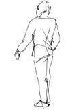 Vector el bosquejo de un hombre que mira detrás sobre su hombro Imagen de archivo