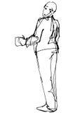 Vector el bosquejo de un hombre que mira detrás sobre su hombro Fotos de archivo