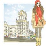Vector el bosquejo de una muchacha elegante en el ciudad-centro libre illustration