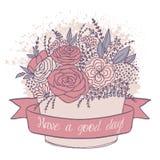 Vector el bosquejo del color, flores festivas con buen deseo Imagen de archivo libre de regalías