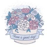 Vector el bosquejo del color, ramo de la flor del día de fiesta con buen deseo Fotos de archivo