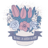 Vector el bosquejo del color, ramo de la primavera con buen deseo Imagenes de archivo