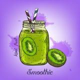 Vector el bosquejo del smoothie del kiwi en la botella de cristal con la paja Alinee la bebida dibujada mano de la fruta aislada  Fotos de archivo libres de regalías