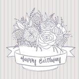 Vector el bosquejo, flores festivas con deseo del feliz cumpleaños Imágenes de archivo libres de regalías