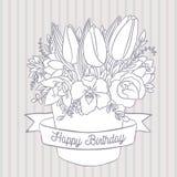 Vector el bosquejo, ramo de la primavera con deseo del feliz cumpleaños Foto de archivo libre de regalías