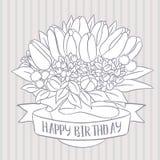 Vector el bosquejo, ramo del tulipán con deseo del feliz cumpleaños Fotos de archivo libres de regalías
