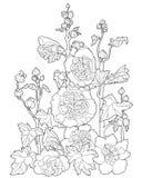 Vector el bosquejo simple del contorno blanco negro de las flores de la fantasía Fotos de archivo libres de regalías