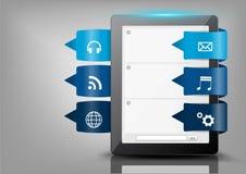 Vector el botón del diseño moderno creativo con la tableta c Foto de archivo libre de regalías