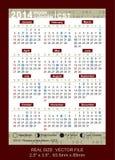Vector el calendario 2014 con las fases del CST de la luna Fotos de archivo