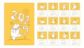Vector el calendario de pared por 2019 años con el cerdo lindo del esquema en blanco y anaranjado La semana empieza de lunes Símb Foto de archivo libre de regalías