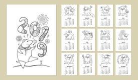 Vector el calendario de pared por 2019 años con el cerdo lindo del negro del esquema La semana empieza de lunes, inglés Símbolo d Fotos de archivo