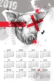 Vector el calendario de pared por 2019 años en polca de la basura con la cabeza del bosquejo del cerdo en negro Comienzo de lunes Imagenes de archivo