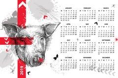 Vector el calendario de pared por 2019 años en polca de la basura con la cabeza del bosquejo del cerdo en negro Comienzo de lunes Foto de archivo