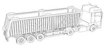 Vector el camión o el tractor de representación isométrico con el semi-remolque del volquete Ejemplo creado de 3d Alambre-marco ilustración del vector