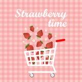 Vector el carro con la fresa en un fondo a cuadros rosado Imágenes de archivo libres de regalías