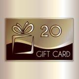 Vector el carte cadeaux abstracto para veinte en oro y Imágenes de archivo libres de regalías