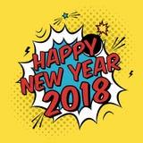 Vector el cartel colorido 2018 en estilo del arte pop con el explosivo de la bomba Foto de archivo