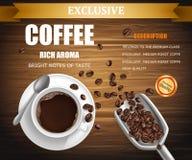 Vector el cartel con la taza de café, diseño de paquete ilustración del vector