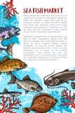 Vector el cartel de la captura de pescados para el maket del marisco stock de ilustración