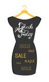 Vector el cartel del icono poco vestido negro - Black Friday Letras de Black Friday en el vestido negro de moda Imagenes de archivo