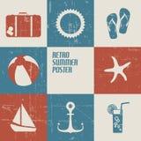 Vector el cartel del verano hecho de iconos Imagen de archivo