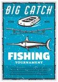 Vector el cartel del vintage o la barra de la aguja y del pescador libre illustration