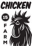 Vector el cartel monocromático en el estilo del vintage para una granja de pollo con el gallo Fotos de archivo libres de regalías