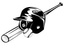 Bola y palo del casco de Bbaseball Foto de archivo libre de regalías