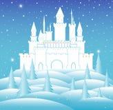 Vector el castillo de reina de la nieve en bosque congelado del invierno Imagen de archivo libre de regalías