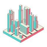 Vector el centro de ciudad isométrico en el mapa con las porciones libre illustration