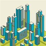 Vector el centro de ciudad isométrico en el mapa con las porciones de edificios Foto de archivo libre de regalías