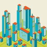 Vector el centro de ciudad isométrico en el mapa con las porciones de edificios Imágenes de archivo libres de regalías