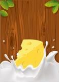 vector el chapoteo de la leche con el queso, textura de madera Foto de archivo