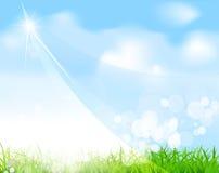 Vector el cielo azul con la hierba, emita, enmascárelo Foto de archivo