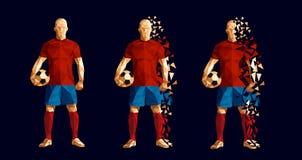 Vector el concep bajo-polivinílico del estilo del futbolista del fútbol del ejemplo ilustración del vector
