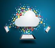 Vector el concepto computacional de la nube con el icono colorido del uso Imagen de archivo libre de regalías