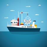 Vector el concepto de barco del océano del río y en mar de la pesca Imagen de archivo
