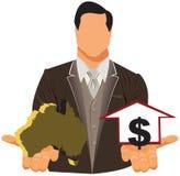 Vector el concepto de diseño del hombre de negocios en traje con el mapa y el dólar australianos libre illustration
