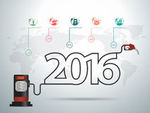 Vector el concepto de 2016 ideas del Año Nuevo con el gas de la boca de la bomba de gasolina Fotografía de archivo