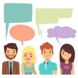 Vector el concepto de la conversación con la gente y esconda las burbujas de pensamiento stock de ilustración
