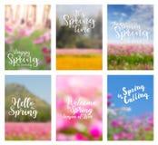 Vector el concepto de las ideas de las flores de la primavera con citas positivas Foto de archivo libre de regalías