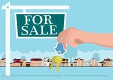 Vector el concepto de las propiedades inmobiliarias en el estilo plano - manos que dan llaves, la bandera para la venta, las casa Imágenes de archivo libres de regalías
