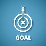 Vector el concepto de meta o de logro de la blanco con la flecha del dardo Foto de archivo libre de regalías