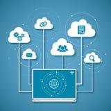 Vector el concepto de red inalámbrica de la nube y de computación distribuida Foto de archivo libre de regalías