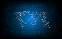 Vector el concepto de trabajo del fondo del mapa del mundo de la innovación abstracta de la tecnología libre illustration