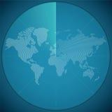 Vector el concepto del ejemplo de mapa del mundo en la exhibición digital del sonar ilustración del vector